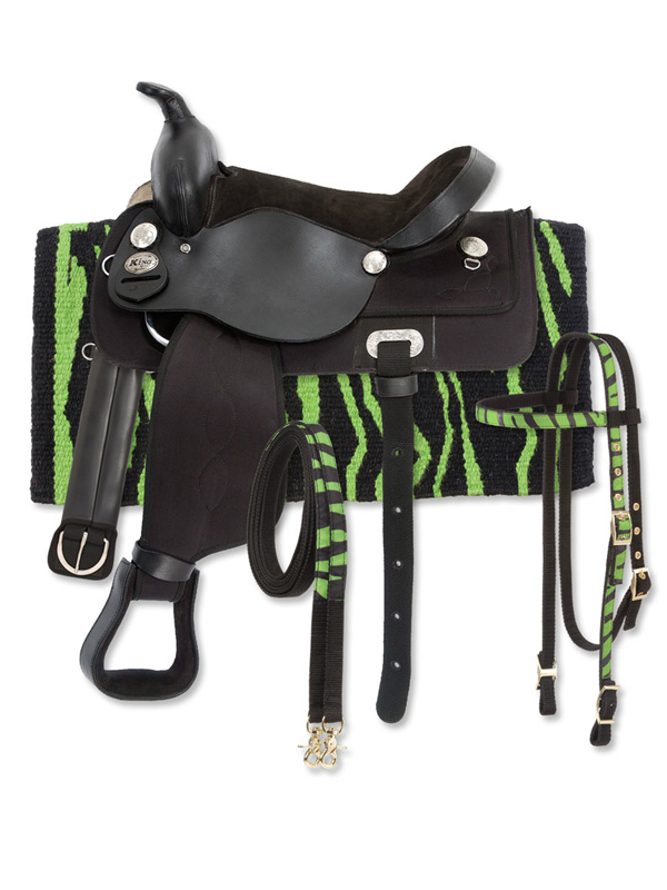 13inch King Series Krypton Synthetic Zebra Saddle Package 9KS41