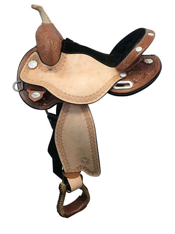 14.5inch Circle Y Blaze Wide Flex2 Barrel Saddle 1528_ Floor Model
