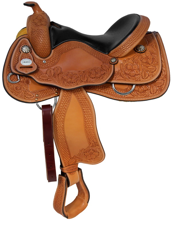 15.5inch 16inch Crates Hand-Tooled Ladies Reining Saddle 4517