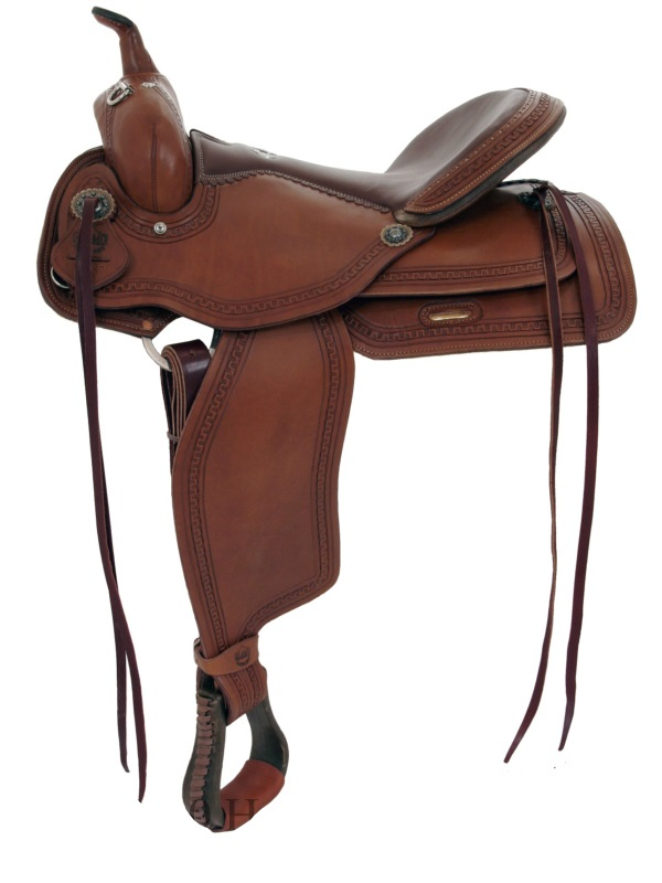 15inch 16inch Alamo Flex Tree Greek Border Tooled Western Trail Saddle