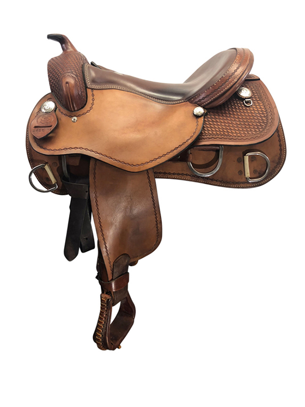 17inch Used Rocking R Wide Reiner Training Saddle 2786