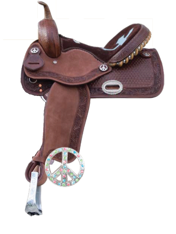 Alamo Turquoise & Chocolate Cutout Inlaid Cross Seat Saddle 1204