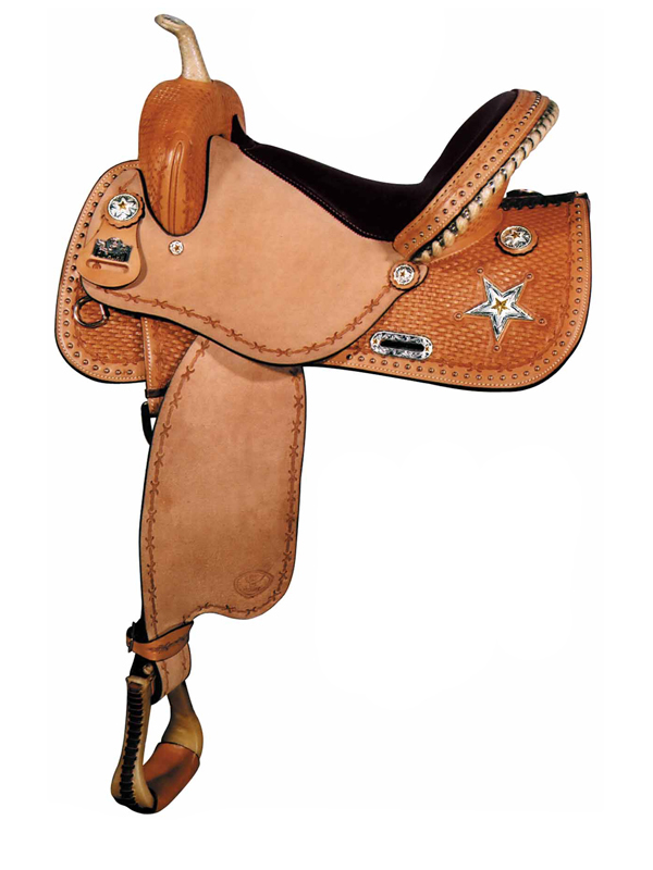 Big Horn Barrel Saddle with JB Stars and conchos 1467 1567