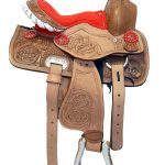 Children's-Tooled-Leather-Western-Saddle-Colored