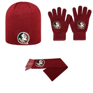 Florida State Seminoles TOW Knit Glove Team Logo Scarf And Classic Hat 32334