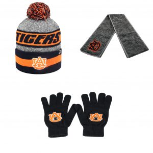 NCAA Auburn Tigers Hail Scarf Cumulus Beanie Hat And TOW Knit Glove 3Pk 39830