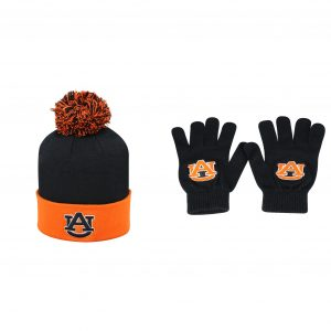 NCAA Auburn Tigers Pom Beanie Hat And TOW Knit Glove 2 Pack 09509