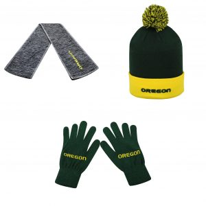 NCAA Oregon Ducks Pom Beanie Hat Hail Scarf And TOW Knit Glove 3 Pack 37238